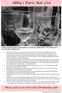 Abby's Top Paris Bar List