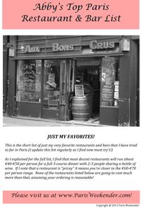 Abby's Top Paris Restaurant and Bar List