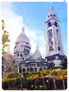 Sacre Coeur Painted in Waterlogue