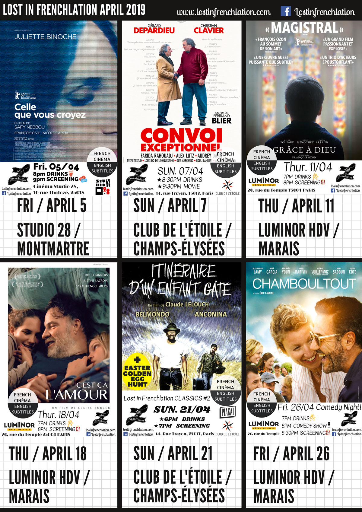 Lost in Frenchlation April Events!